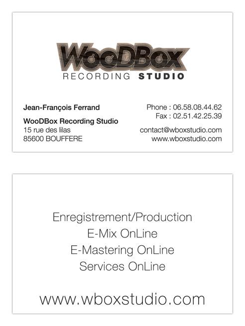 Mise en page carte de visite WooDBox