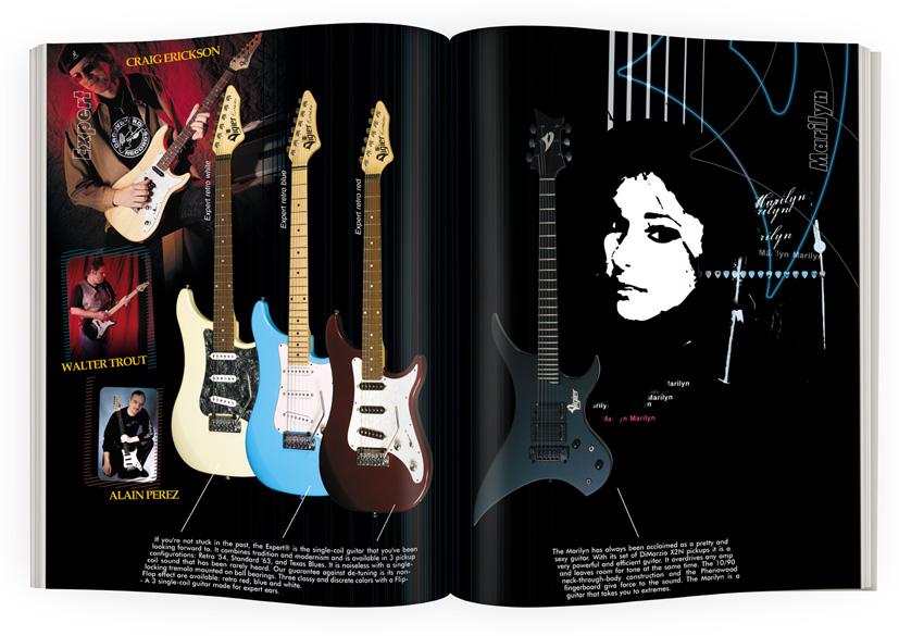 Mise en page guitares Vigier modèles Expert et Marilyn