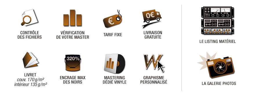 Pictogrammes illustrant les services et avantages inclus dans les offres en pressage cd, dvd et vinyle
