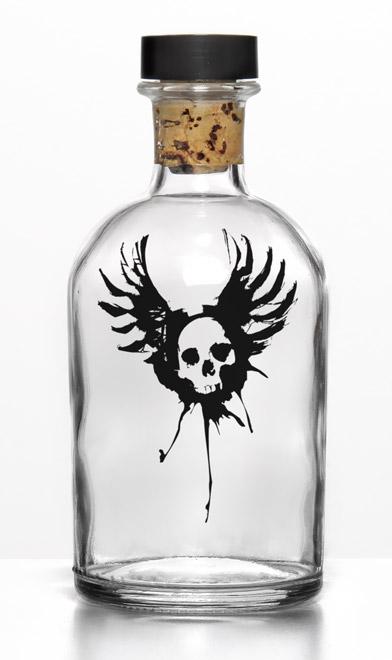 Impression fly-skull sur bouteille