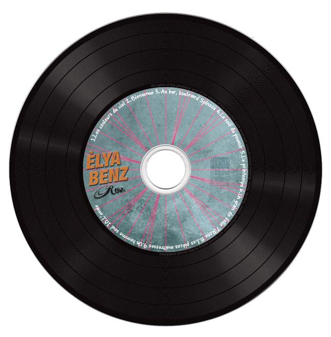Mise en page rond CD, imitation vinyle