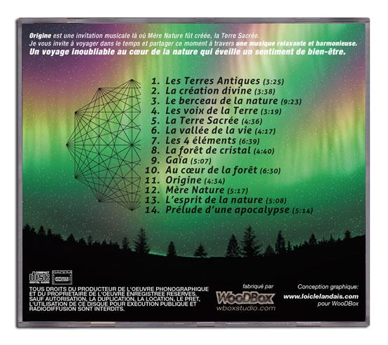 Graphisme et mise en page au dos du boitier CD
