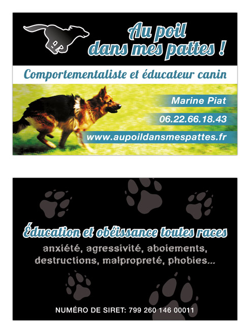 Graphisme et mise en page carte de visite de Marine Piat, comportementaliste canin à Rennes