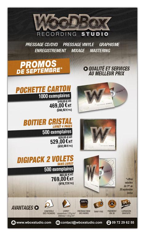 Annonce mail pour les offres en pressage CD de WooDBox