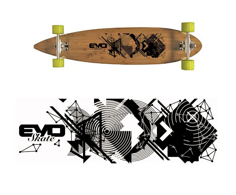 Déco graphique pour planche de skate de type longboard
