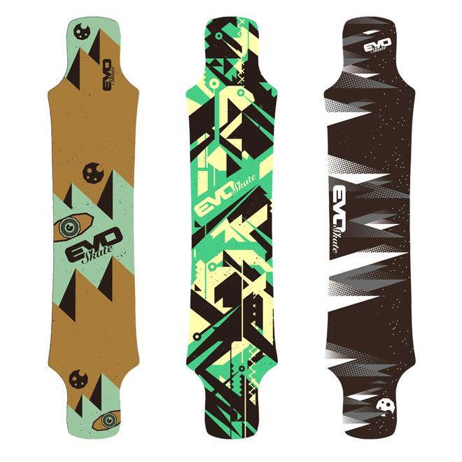 Propositions graphiques planches de skate mountainboard