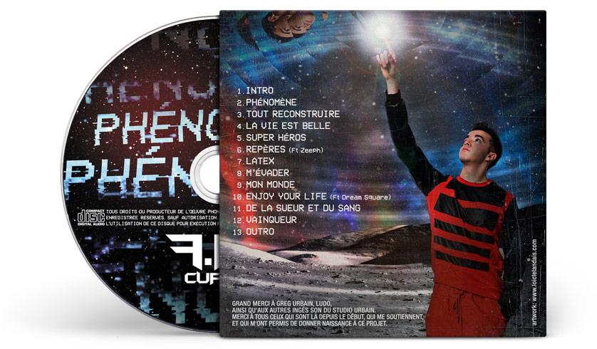 Graphisme et mise en page au dos de la pochette d'album cd