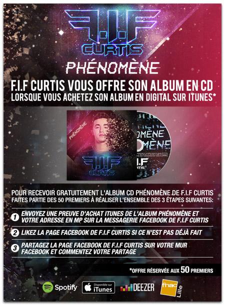 Pub jeu concours facebook pour FIF Curtis, chanteur rap électro