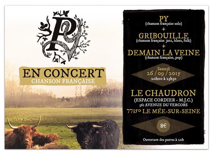 Graphisme et mise en page flyer et annonce facebook pour concert