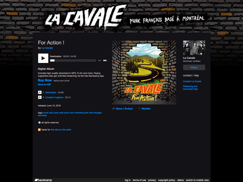 Graphisme page bandcamp