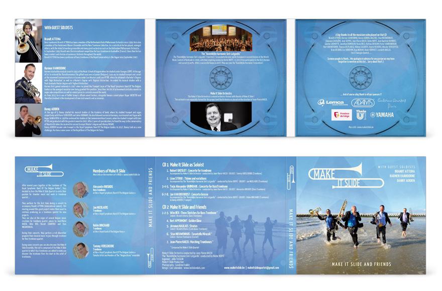 Mise en page volets intérieurs et volets extérieurs du digipack cd