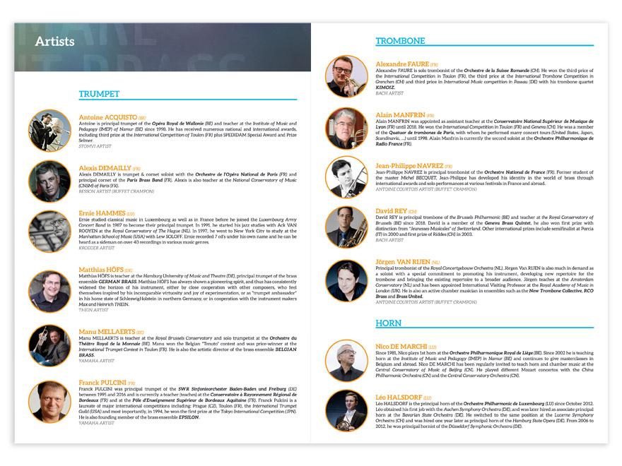 Mise en page présentation et biographies artistes