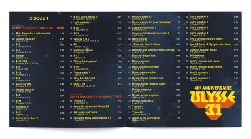 Extrait mise en page tracklist à l'intérieur du livret cd